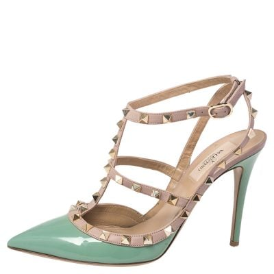 Valentino Green/Beige Leather Rockstud Pointed Toe Pumps Size 39