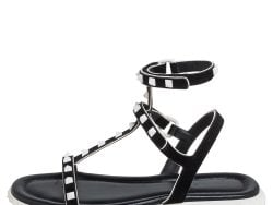 Valentino Black Suede And Leather Rockstud Ankle Strap Flat Sandals Size 38