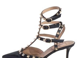 Valentino Black Lizard and Leather Rockstud Ankle Strap Pumps Size 37.5