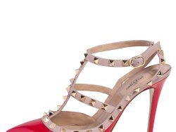 Valentino Red/Beige Patent And Leather Rockstud Ankle Strap Sandals Size 38