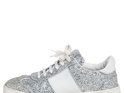 Valentino Silver/White Glitter and Leather Fly Crew Low Top Sneakers Size 40