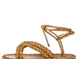 Valentino Gold Leather The Rope  Ankle Wrap Flat Sandals Size 40