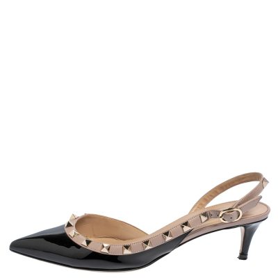 Valentino Black/Beige Patent And Leather Rockstud Pointed Toe Slingback Sandals Size 37.5