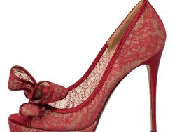 Valentino Red Lace Bow Peep Toe Pumps Size 37.5
