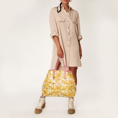 Versace Beige/Yellow Coated Canvas Borocco Print Tote
