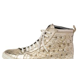 Versace Gold Leather Studded High Top Sneakers Size 39