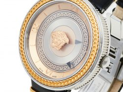 Versace Rose Gold Two-Tone Stainless Steel Leather V-Metal Icon VLC100014 Women's Wristwatch 40 mm