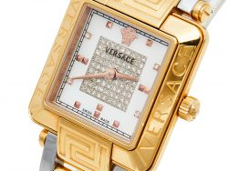 Versace Mother of Pearl Two-Tone Stainless Steel Diamonds Reve Carre 88Q Women's Wristwatch 30 mm