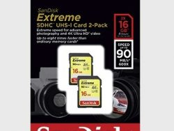 Sandisk SDHC Extreme 16GB 90MB/s CL 10 Doublepack