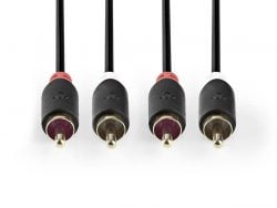 Nedis CABW24200AT100 Stereo Audiokabel 2x Rca Male - 2x Rca Male 10 M Antraciet