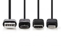 Nedis CCGP60620BK10 3-in-1 Sync And Charge-kabel Usb-a Male - Micro B Male / Type-c™ Male / Apple Lightning 8-pins Male 1