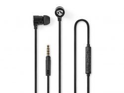 Nedis HPWD5020BK Wired Headphones 1.2m Flat Cable In-ear Built-in Microphone Aluminium Black