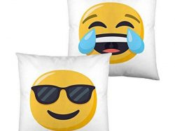 Kussen met vulling Emoji Face with Tears of Joy and Smiling with Sunglasses (40 x 40 cm)