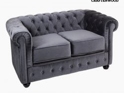 2-persoons Chesterfield bank Fluweel Grijs - Relax Retro Collectie by Craftenwood