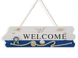 Bord Welcome Blue Sea Hout (4 x 15 x 40 cm)