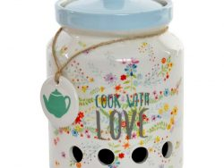 Tin DKD Home Decor Cook With Love (12 x 12 x 17 cm)