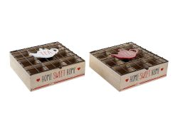 Box for Infusions DKD Home Decor Tea Metaal Hout MDF (24 x 24 x 8 cm) (2 pcs)