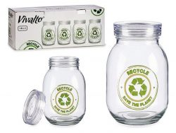 Tin Recycle Transparant Glas Staal 1800 ml
