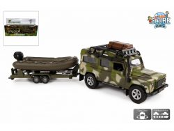 Kids Globe Camouflage Pull-Back Land Rover met Boot
